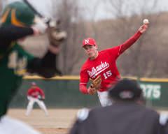 Schank pitching in high school