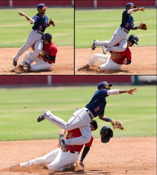 Rudy Flores Visalia 2014 sliding into second