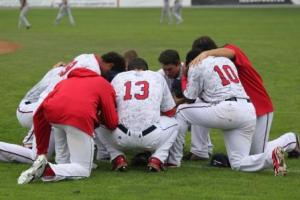 This was interesting- a group of Hagerstown players gathered and prayed before game one