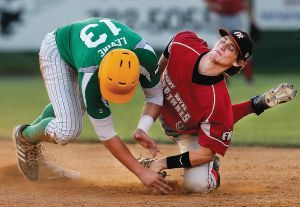 Levine sliding into second base and Front Royal's Chase Lunceford (Scott Mason)