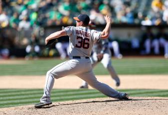 Apr 25, 2015; Oakland, CA, USA; Houston Astros relief pitcher Will Harris (36) pitches during the ninth inning against the Oakland Athletics at O.co Coliseum. Mandatory Credit: Bob Stanton-USA TODAY Sports