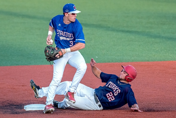 Trevor sliding into second base (Austin Bachand / DN-R)