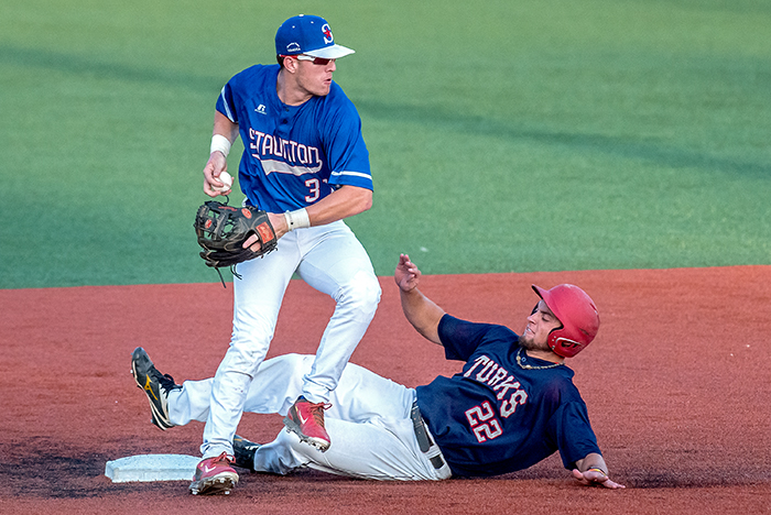 Trevor sliding into second base (Austin Bachand / DN-R)