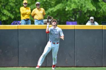 GREENVILLE, NC - APRIL 29: Houston pitcher Tyler Bielamowicz (13) catches a ball in the outfield during a game between the Houston Cougars and the East Carolina Pirates at Lewis Field at Clark LeClair Stadium in Greenville, NC on April 29, 2018. Houston defeated ECU 6-5.(Photo by Greg Thompson/Icon Sportswire via Getty Images)