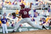 5 March 2016; Fordham Rams at LSU Tigers; Fordham Rams pitcher Anthony Zimmerman (39) during a game in Baton Rouge, Louisiana (Photo by John Korduner/Icon Sportswire/Corbis via Getty Images)