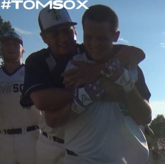 McMullen after his walk-off (Charlottesville Tom Sox)