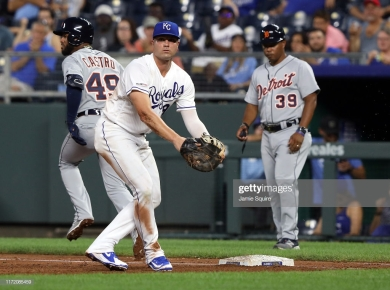KANSAS CITY, MISSOURI - SEPTEMBER 03: Ryan McBroom #9 of the Kansas City Royals in action during the 3rd inning of the game against the Detroit Tigers at Kauffman Stadium on September 03, 2019 in Kansas City, Missouri. (Photo by Jamie Squire/Getty Images)